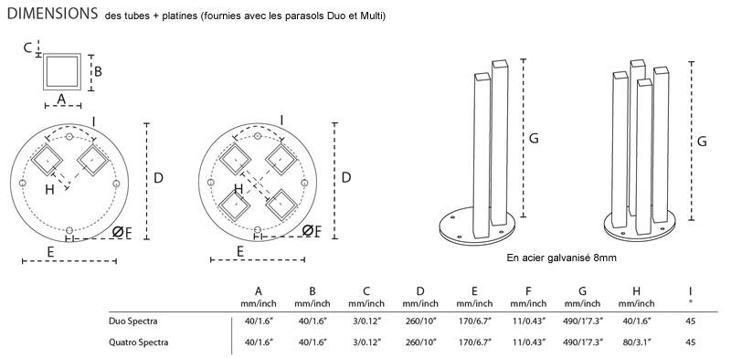Parasol design 1 mat 2 toiles Spectra Duo et Multi UMBROSA