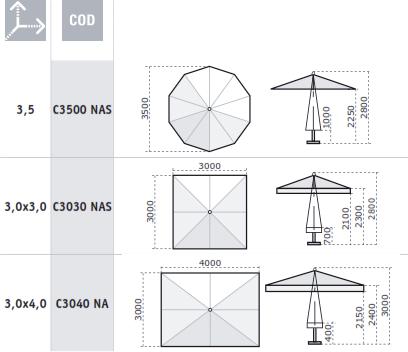 Parasol table repas Napoli SCOLARO